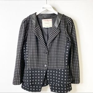 Anthropologie Cartonnier Peplum Cross print Blazer